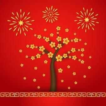 Árbol en flor y fuegos artificiales
