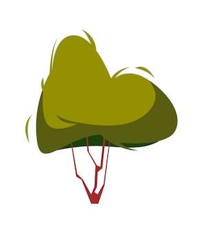 Árbol con follaje verde, objeto natural aislado