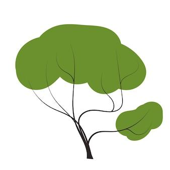 Árbol en garabatos vector cualquier temporada invierno primavera verano otoño estilo plano