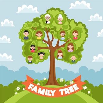 Árbol genealógico dibujado a mano ilustrado