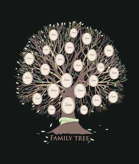 Árbol genealógico estilizado o plantilla de cuadro genealógico con ramas y marcos de fotos redondos aislados sobre fondo negro