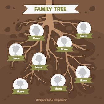 Árbol genealógico con varias generaciones