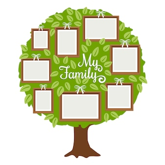 Árbol genealógico verde con marcos