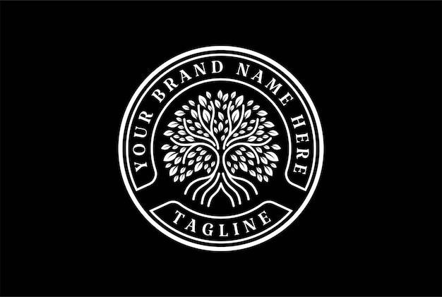 Árbol genealógico de la vida sello sello emblema oak banyan maple logo design vector