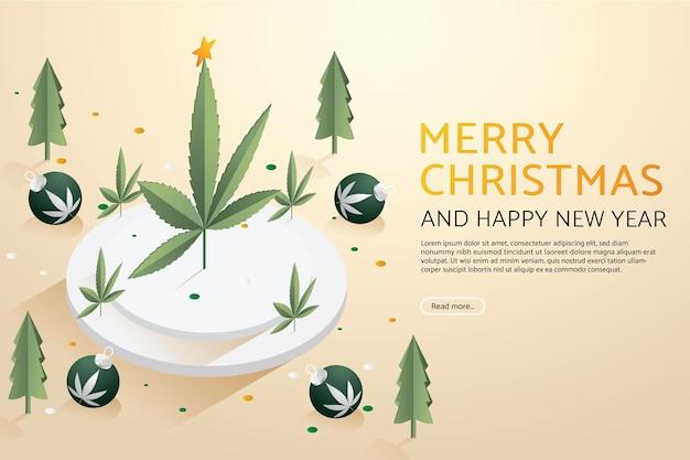Árbol de hoja de marihuana con bola de navidad en el podio feliz navidad y próspero año nuevo