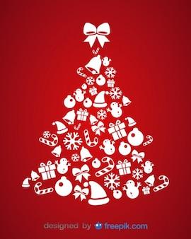 Árbol de íconos de navidad ilustración vectorial de tarjeta