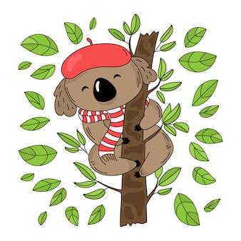 Árbol de koala oso australiano del bosque
