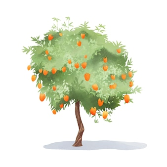 Árbol de mango acuarela con frutas