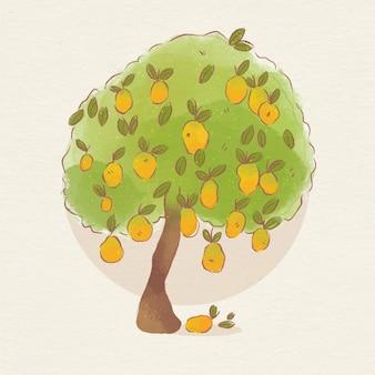 Árbol de mango botánico acuarela con frutas