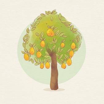 Árbol de mango botánico con frutas