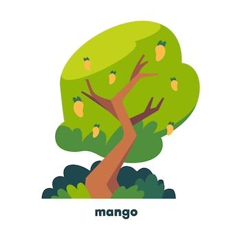 Árbol de mango de diseño plano con fruta.