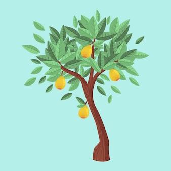 Árbol de mango de diseño plano con frutas y hojas verdes.
