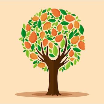 Árbol de mango de diseño plano con frutas