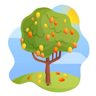 Árbol de mango de diseño plano verde con fruta.