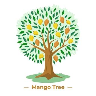 Árbol de mango en diseño plano