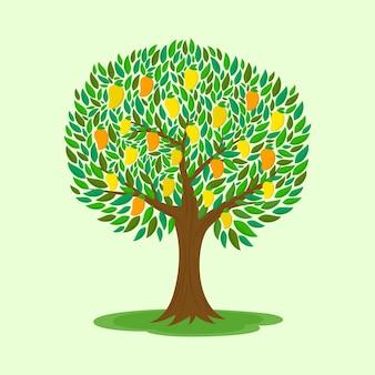Árbol de mango con ilustración de diseño plano de frutas