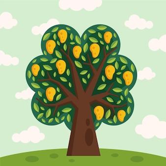 Árbol de mango plano con frutas y hojas verdes.