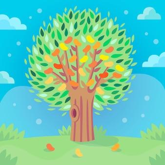Árbol de mango plano con hojas verdes