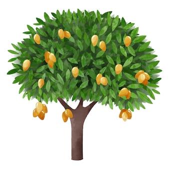 Árbol de mango verde acuarela con fruta