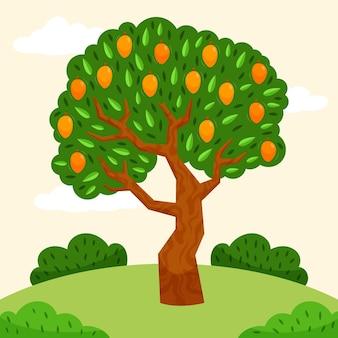 Árbol de mango verde de diseño plano