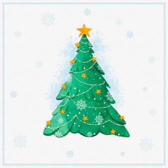 Árbol de navidad en acuarela con copos de nieve