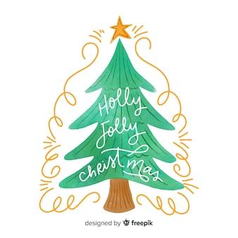 Árbol de navidad acuarela en diseño plano
