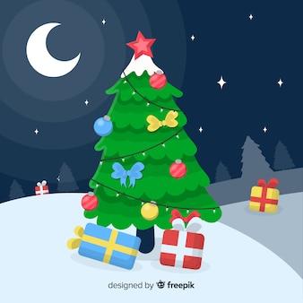 árbol de navidad adorable con diseño plano