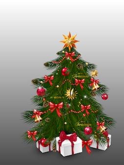 Árbol de navidad con adornos de navidad: adornos, estrellas, guirnaldas, copos de nieve, lámparas. plantilla de ilustración para diseño, tarjeta de felicitación, invitación. feliz navidad y próspero año nuevo.
