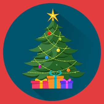 Árbol de navidad con adornos y regalos.