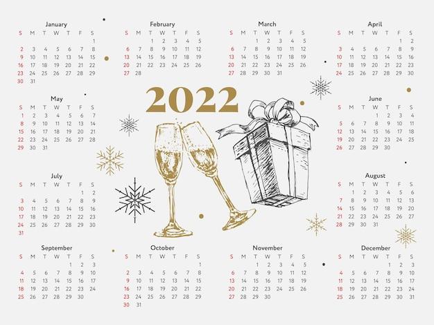 Árbol de navidad año nuevo bosquejo calendario semana comienza el domingo
