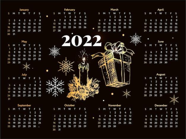 Árbol de navidad, año nuevo, bosquejo, calendario, semana, comienza, domingo