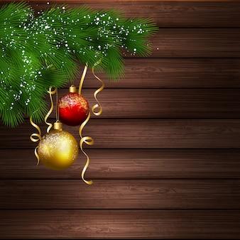 Árbol de navidad con bolas en fondo de madera