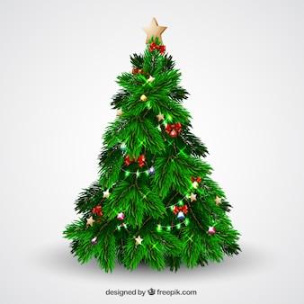 Arbol de navidad con brillantes luces y lazos