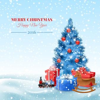 árbol de navidad con cajas de regalo