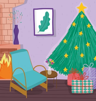 Árbol de navidad en casa con estrellas, regalos, silla, chimenea y foto