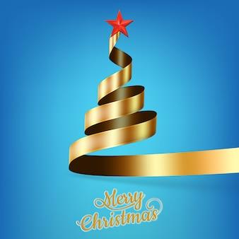 Árbol de navidad de cinta dorada y estrella