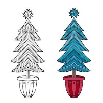 Árbol de navidad en color y línea. decoración de árbol de año nuevo para pegatinas.