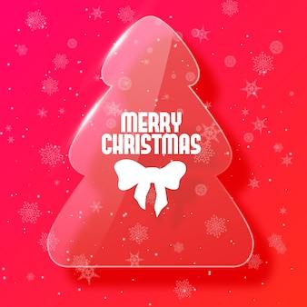 Árbol de navidad de color rosa en ilustración plana de postal de estilo de vidrio
