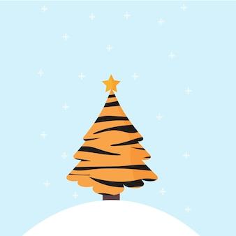 Árbol de navidad en color tigre los copos de nieve están cayendo el símbolo del año nuevo es un tigre