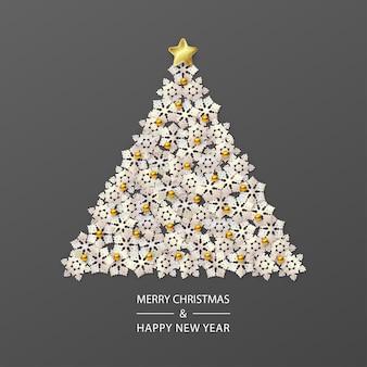 Árbol de navidad compuesto de copos de nieve blancos sobre fondo oscuro en un estilo minimalista