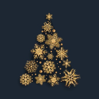 Árbol de navidad de copo de nieve reluciente