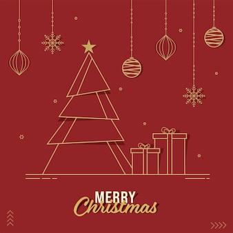 Árbol de navidad cortado en papel con cajas de regalo, copos de nieve colgantes, adornos y estrellas decoradas sobre fondo rojo para la celebración de la feliz navidad.