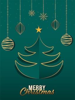 Árbol de navidad cortado en papel con estrella dorada, adornos colgantes y copos de nieve sobre fondo verde para la celebración de la feliz navidad.