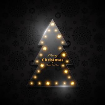Árbol de navidad de cristal transparente con luz brillante, fondo negro, patrón de copo de nieve. feliz navidad y próspero año nuevo texto.