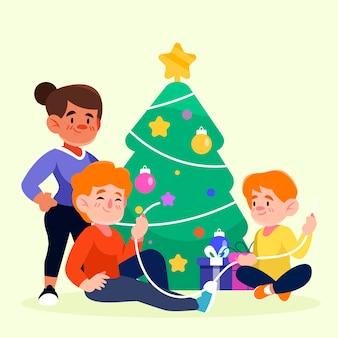 Árbol de navidad de decoración familiar