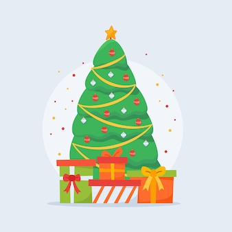 Árbol de navidad con decoración de regalos.