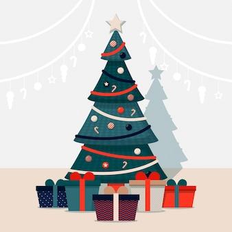 Árbol de navidad decorado con diferentes regalos.