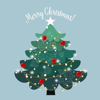 Árbol de navidad decorado. fondo de vacaciones. feliz navidad y próspero año nuevo.