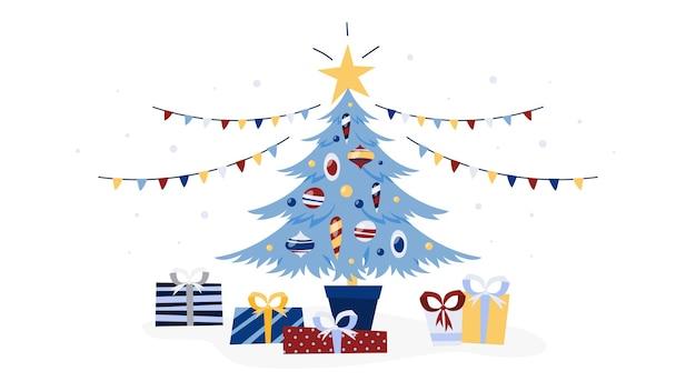 Árbol de navidad decorado con regalos debajo. vacaciones de invierno y celebración de año nuevo. ilustración