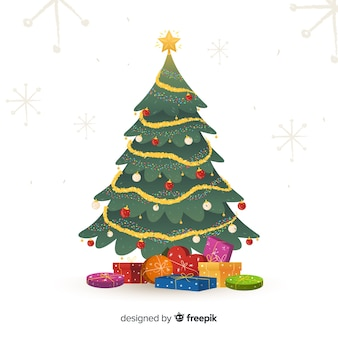 Árbol de navidad decorado con regalos